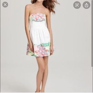 White Strapless Floral Lilly Pulitzer Lottie Dress